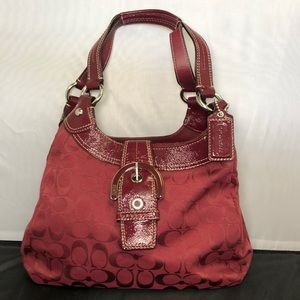 Coach Soho Lynn Burgundy Logo Jacquard Hobo Purse